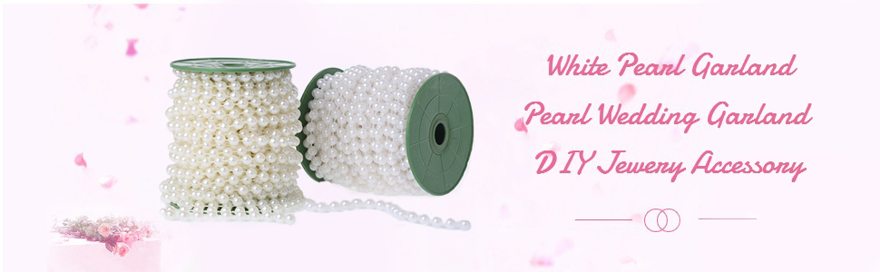 AllRight Pearl Beads Garland Wedding Pearl String Bridal Party Decor 6MM Pearl White
