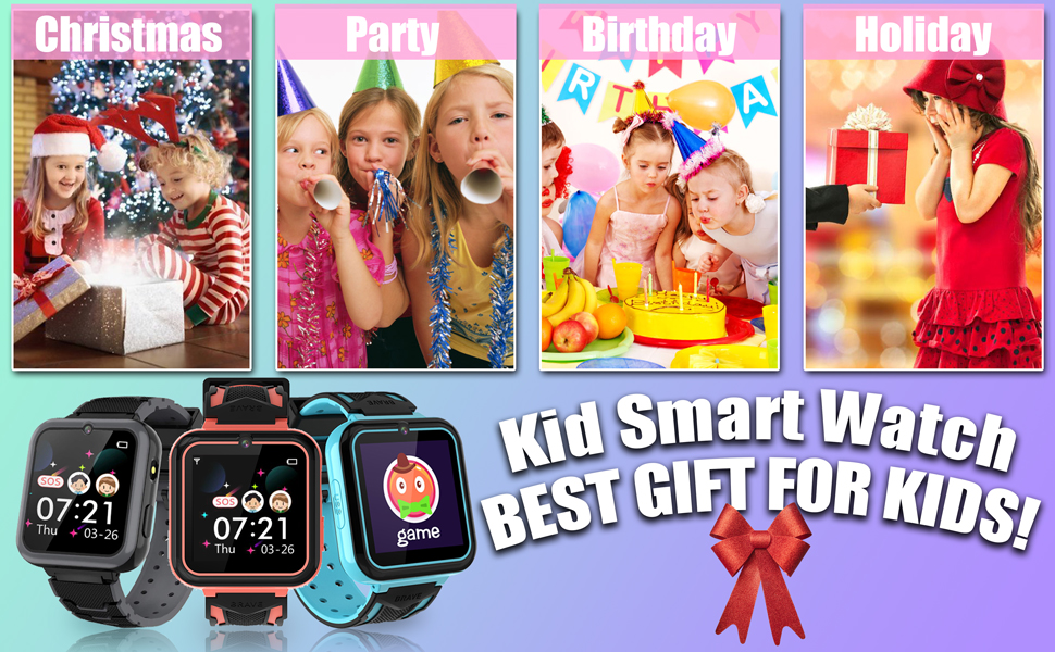 Smart Watch with Calling SOS 7 Games and Music Player for Birthday Wrist Watch 3-12y
