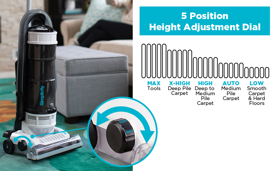 Height Adjustment Dial, Attachment Tools, Low Pile to Deep Pile Carpet and Rugs