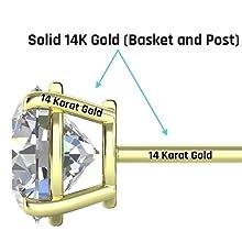 14K yellow gold, 14K white gold