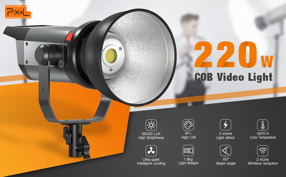 220W High Power Continuous Output Lighting 5600k with Bowens Mount 66,000Lux@0.5m Support Group Control 3 Lighting Effect Wireless Remote CRI 97+ TLCI 99+ Pixel LED Video Light Auto Cooling Fan