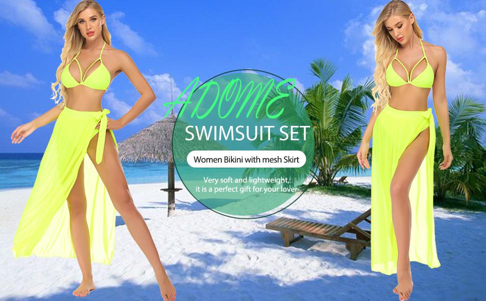 three piece mesh bikini 3 pieces bathing suit green 3 piece skirt suit 3piece cover up bathing suits