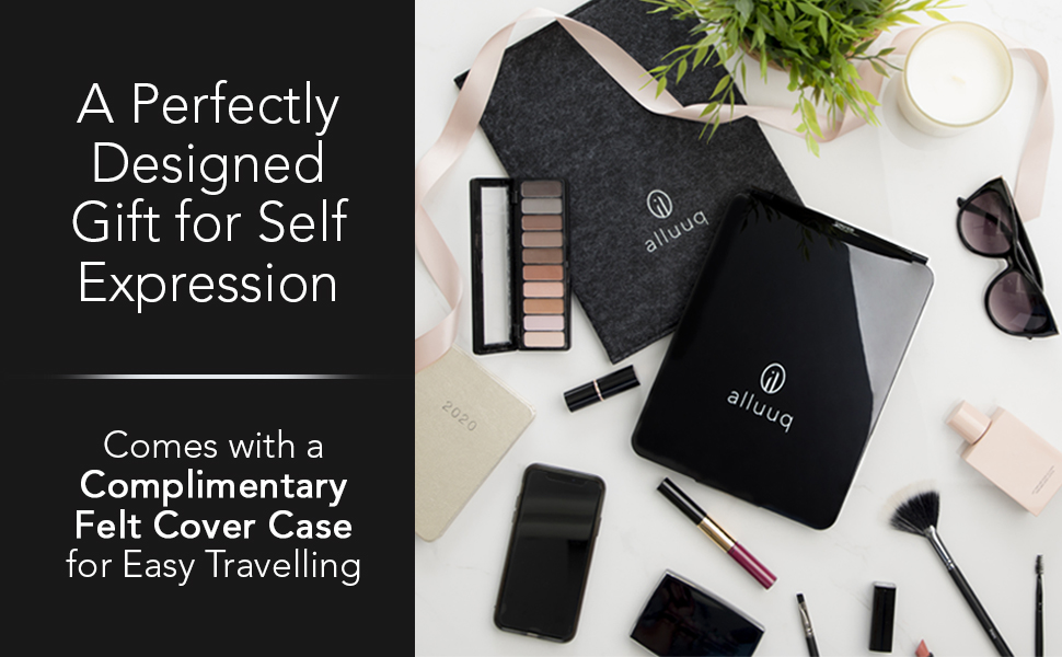 Makeup mirror with lights, travel,  rechargeable, slim, compact with cover case for easy traveling