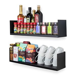 Wallniture libro u shape metal shelf black set of 2 kitchen decor floating shelf