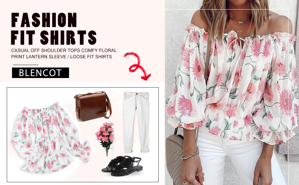 Womens Summer Tops Sexy Off Shoulder Front Knot Ruffled Blouses Casual 3/4 Sleeve Floral Pullovers