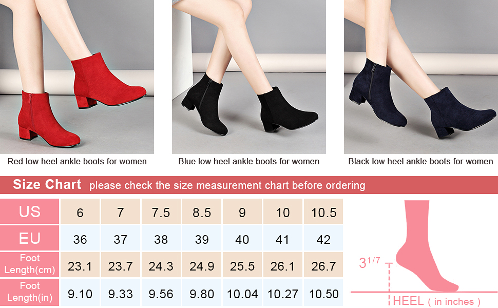 Details about  /Womens Low Mid Block Heel Ankle Boots Chunky Ladies Booties Comfy Casual Shoes