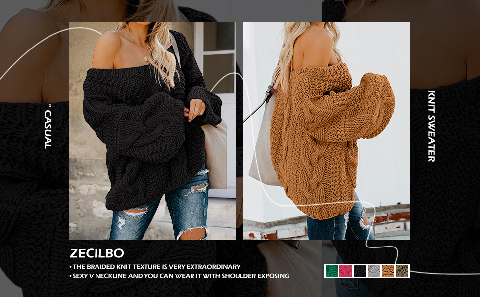 Casual Loose Long Sleeve Chunky Jumper Tops