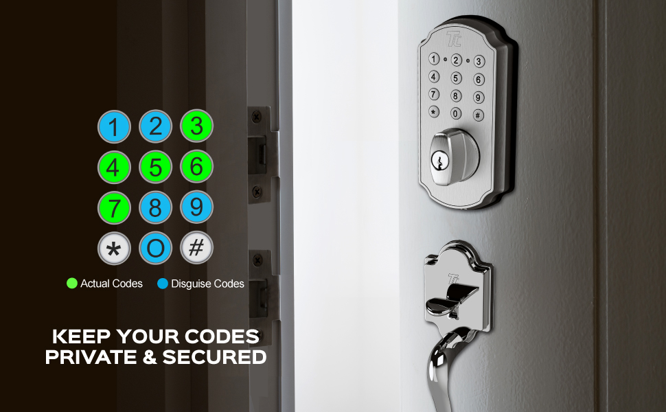 our programmable deadbolt comes with our unique Code Disguise — a Turbolock hallmark feature