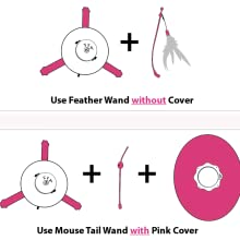 two wand cat toy, compatible wand cat toy, mouse tail cat toy, cover cat toy, rotating cat toy