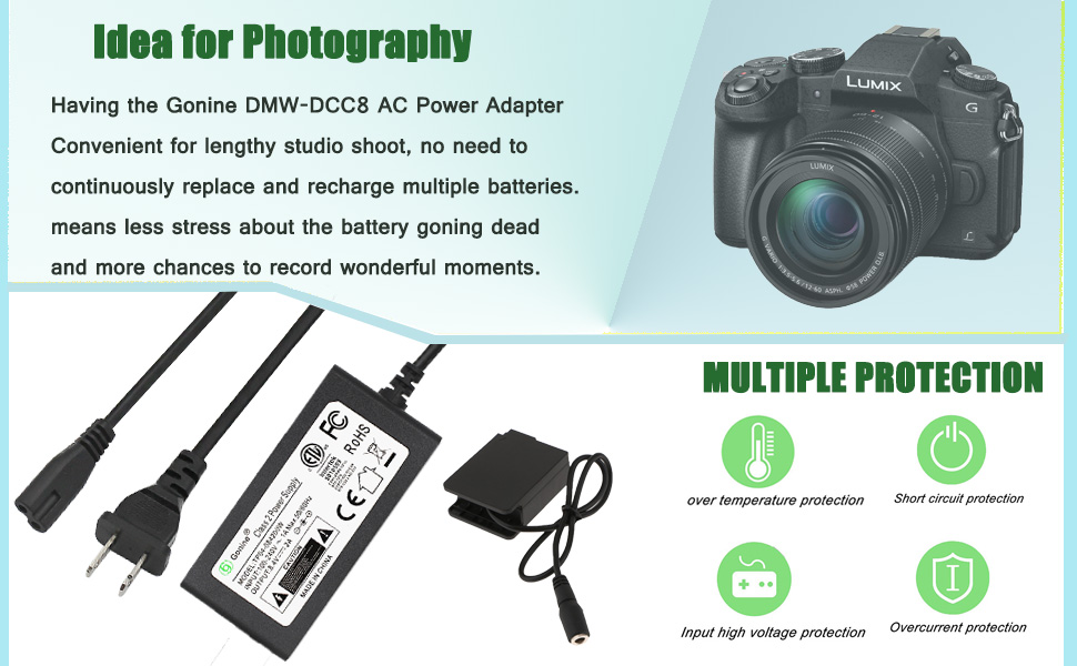 Amazon Com Gonine Dmw Dcc8 Dmw Ac8 Adaptador De Corriente Alterna Dc Kit De Cargador De Acoplador Dmw Blc12 Batería De Repuesto Para Cámaras Panasonic Lumix Dmc Fz2500 Fz1000 Fz300 Fz200 G85 Gx8 G7 G6 G5 Gh2