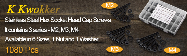 M2 M3 M4 Hex Head Screws and Nuts, Washers Fastener Assortment Kit