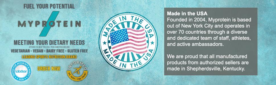 Myprotein, made in USA,