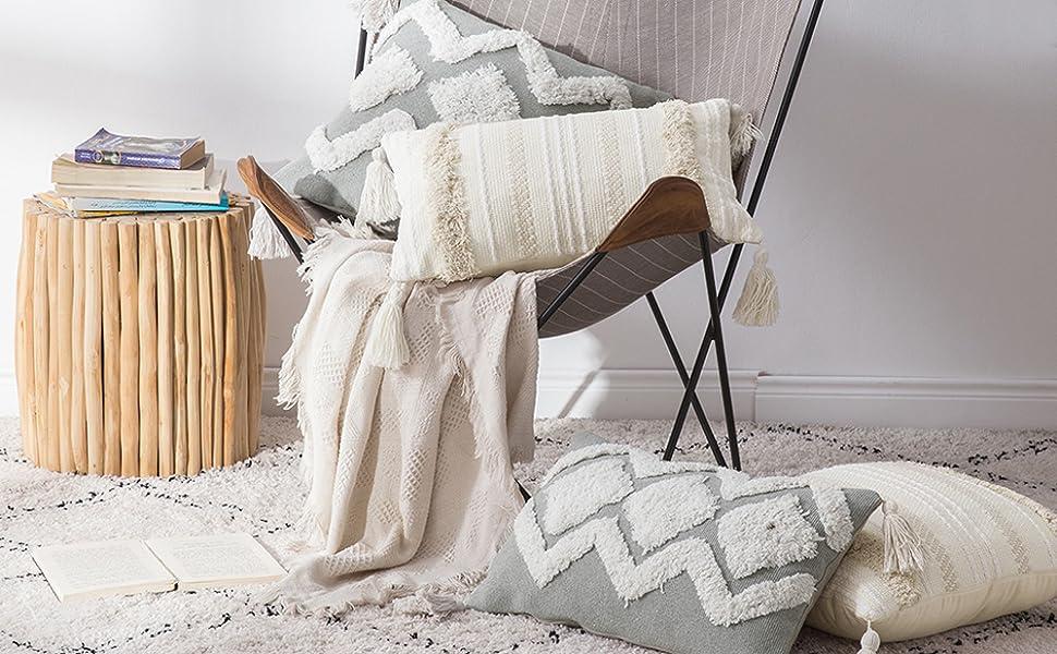 minimalism simple neutral tassel pillowcase