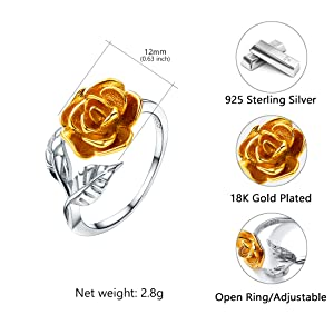 925 Sterling Silver Gold Ring