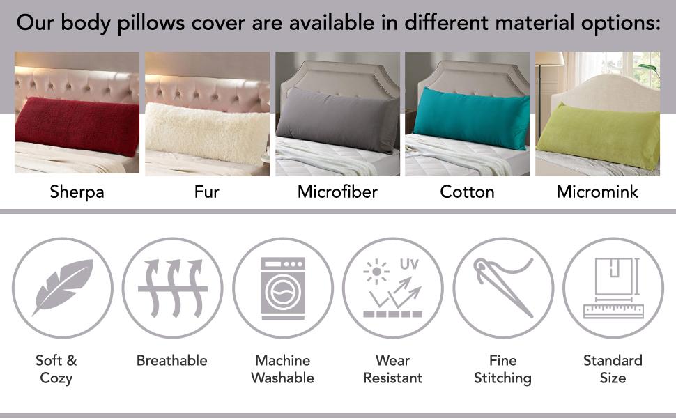 Sherpa body pillow case is wear resistant