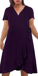 Nemidor Women's Short Sleeve V-Neck Plus Size Wrap Dress Casual Ruffle Swing Dress
