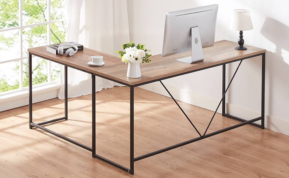 HSH L Shaped Computer Desk, Metal and Wood Rustic Corner Desk, Industrial Writing Workstation Table