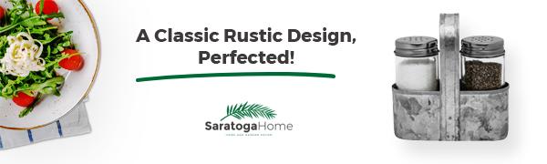 Saratoga Home farmhouse salt and pepper shaker set banner
