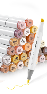 36 Skin-Tone Colors Alcohol Brush Markers