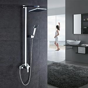 Wieoc Colonna Doccia Doccia a pioggia nera Rubinetto per doccia monocomando Set per doccia Montaggio a parete Miscelatore per doccia Rubinetto per doccia