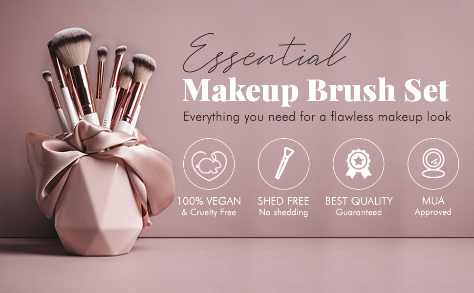 Vegan cruelty free makeup brush set professional artist eye brushes face rose gold marble bag gift