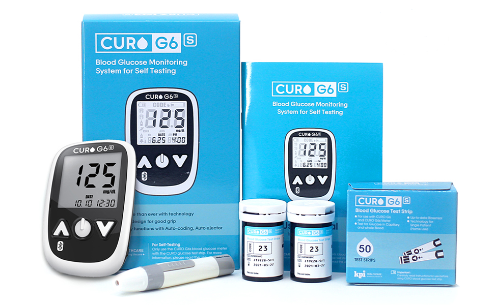 curo g6s blood glucose sugar energy levels home kit self test bluetooth telomd