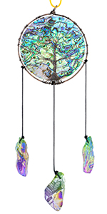 Abalone Shell Tree of Life Hanging Ornament with Crystal Points Wind Chimes