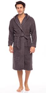 Men's Hooded Bathrobe Terry Cotton Cloth Robe Shawl Collar Bathrobe for Mens