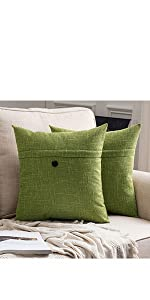 farmhouse linen burlap pillow covers with button green vintage retro decor