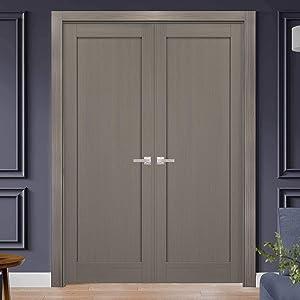 French Double Panel Doors 56 X 84 With Hardware Quadro 4111 Grey Ash Pre Hung Panel Frame Trims Bathroom Bedroom Interior Sturdy Door Amazon Com