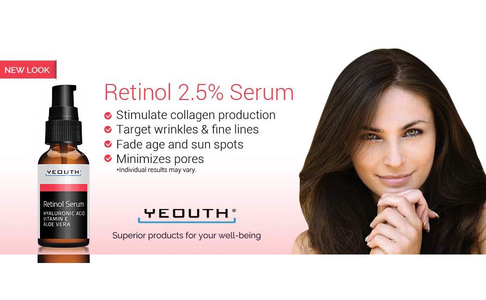 Amazon Com Retinol Serum 2 5 With Hyaluronic Acid Aloe Vera