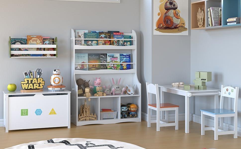Homfa Estantería Infantil para Juguetes Libros Librería Pared para Niños Organizador Infantil con 3 Estantes 3 Puertas Blanco 90x30x127cm