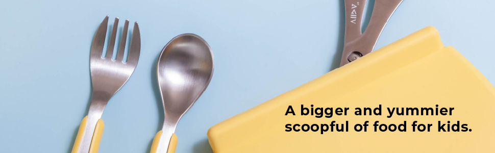 VIIDA, souffle fork & spoon set large, kids utensils, stainless steel, food-grade silicone