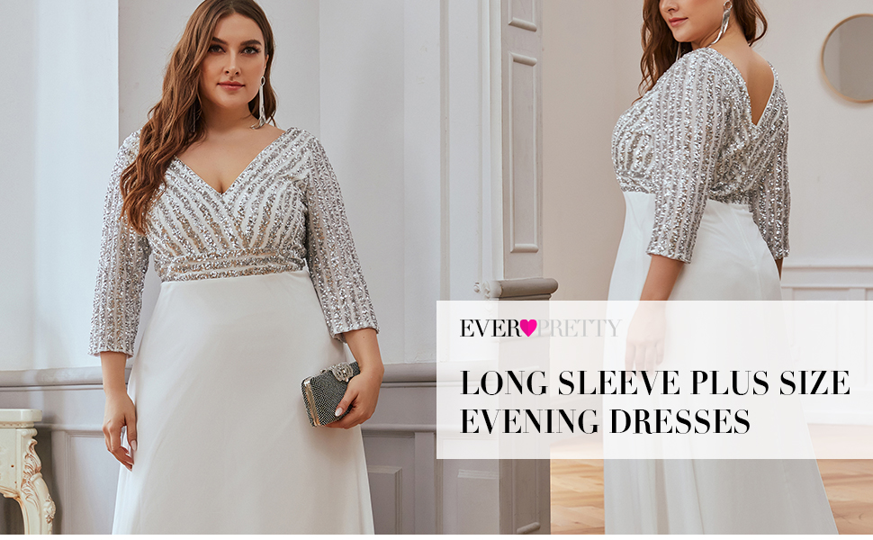 Ever Pretty Long Sleeve A-line Plus Size Formal Party Gowns Long Evening Dresses for Weddings Party