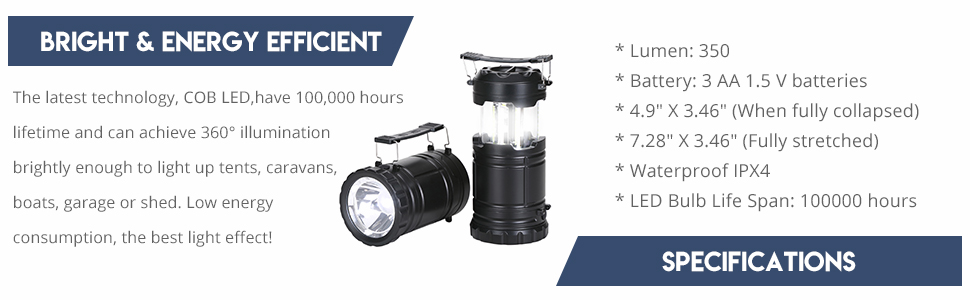 Gukos Portable LED Camping Lantern 3-Mode Flashlight Collapsible for Outdoor Hiking Outages Emergency Hurricane Storms Backpacking Blue Color