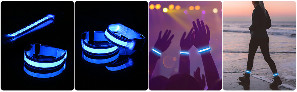 USB Rechargeable Armband LED Slap Bracelets cycling Guiseapue LED Armband 2 pack Camping Outdoor Sports. Adjustable Strap Safety running Light Armbands for Jogging Walking
