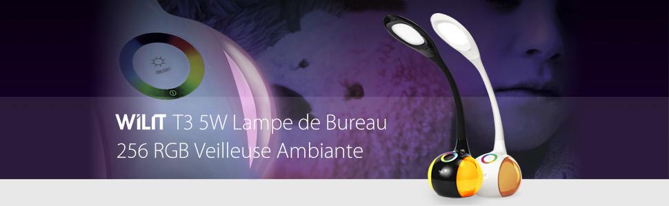 RGB Lumière de Couleu, 3 Niveaux de Luminosité, Lampe de Bureau Enfants, Col de Cygne