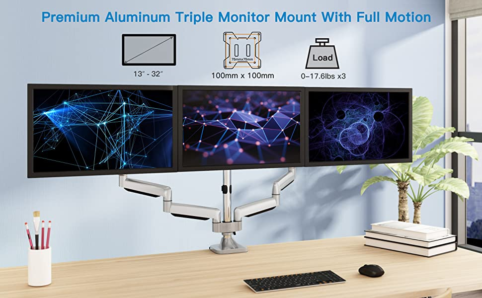 "Triple Monitor Desk Stand Mount Full Motion Side Arms For 3 Screens 13/"" ~ 32/"""