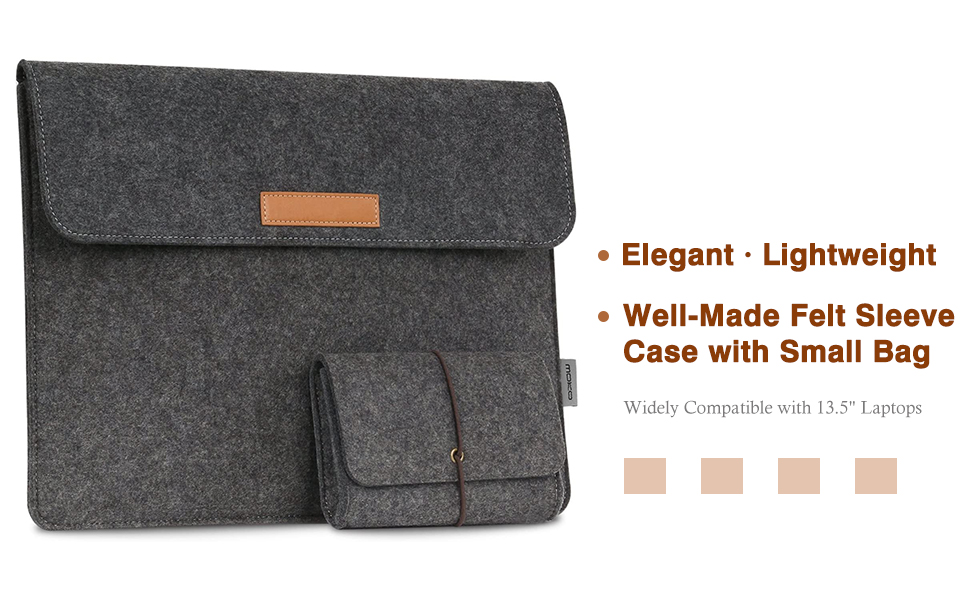 Protective Ultrabook Carrying Case Cover Dark Gray MoKo 13.5 Inch Laptop Sleeve Bag Fits Surface Laptop 3 13.5//2//1//Surface Book 3 13.5//Surface Book 2 13.5 with Small Felt Bag /& Two Back Pockets
