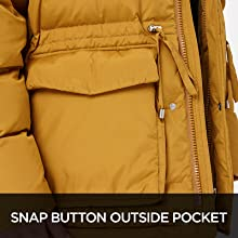 Snap button outside pocket