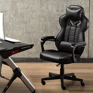 chair  Bonzy Home Gaming Chair Office Chair High Back Computer Chair PU Leather Desk Chair PC Racing Executive Ergonomic Adjustable Swivel Task Chair with Headrest and Lumbar Support (Black) 85c313da 88e2 4a09 a409 38a1842dd1a8