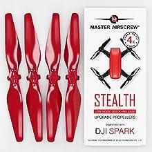P 4 Rotorblätter CamKix Propeller Kompatibel mit DJI Spark Rot+Blau 1 Set