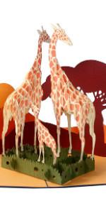 Giraffe Family Popup Card