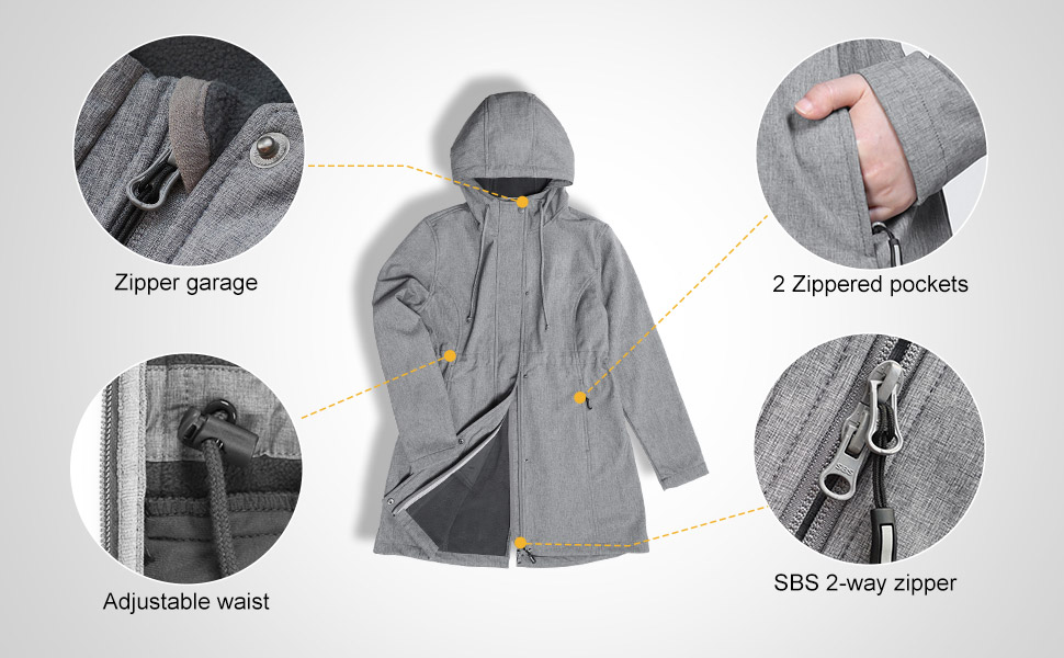 softshell long hooded jacket
