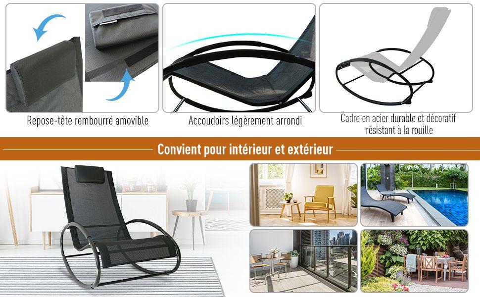 Noir Chaise métal époxy Fauteuil textilène Longue Contemporain dim105L x à 62l Design Bascule cm Outsunny 88H x R3q5AjL4