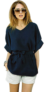 3/4 batwing blouse self tie knot