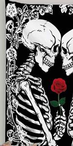lovers tarot tapestry kissing skull skeleton sugar skull rose flowers