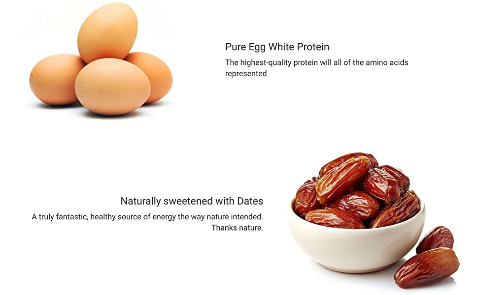 Pure Egg White Protein Naturally sweetened with Dates