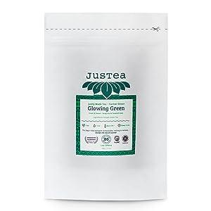 justea glowing green tea organic fair trade non-gmo natural organic