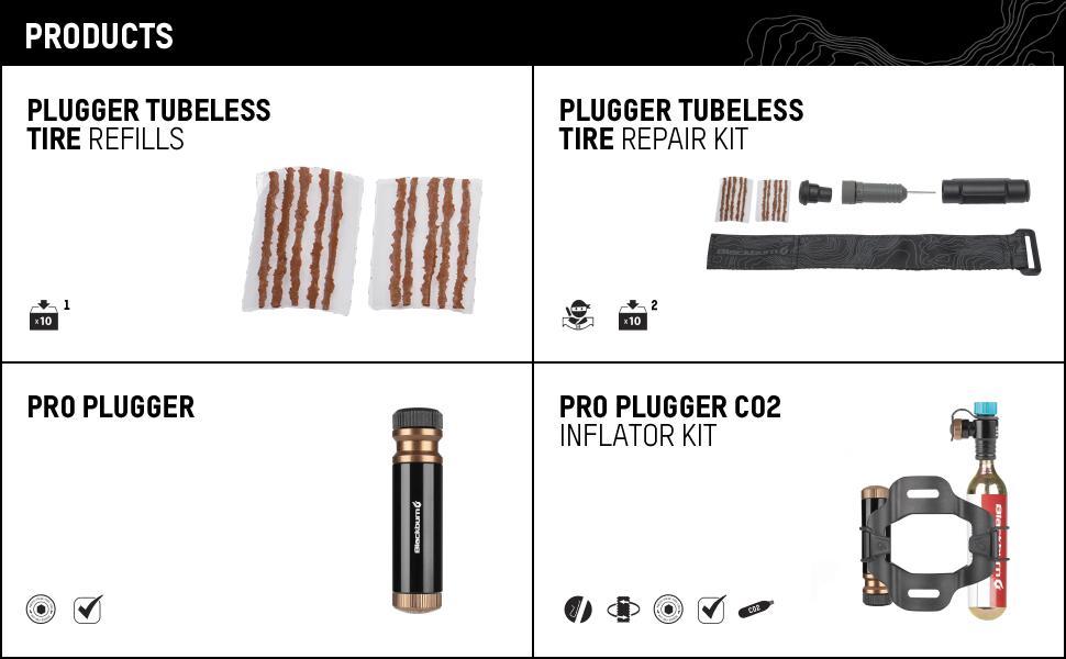 blackburn plugger tubeless tire reapir kit pro co2 inflator bike